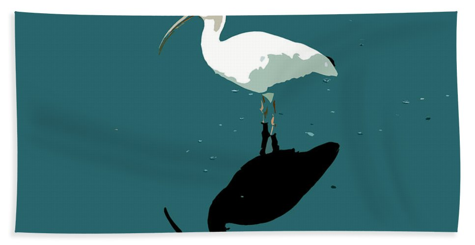 White Ibis Bath Towel featuring the photograph White Ibis by David Lee Thompson