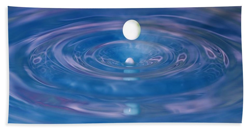 Water Drop Bath Sheet featuring the photograph White Into Blue Series 3 by Kristina Jones