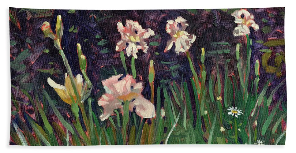 Plein Air Bath Sheet featuring the painting White Irises by Donald Maier