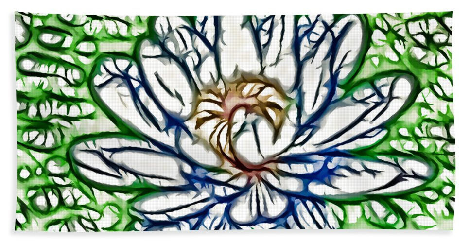 White Lotus Between Leafs On Water Field Hand Towel featuring the painting White Lotus by Jeelan Clark