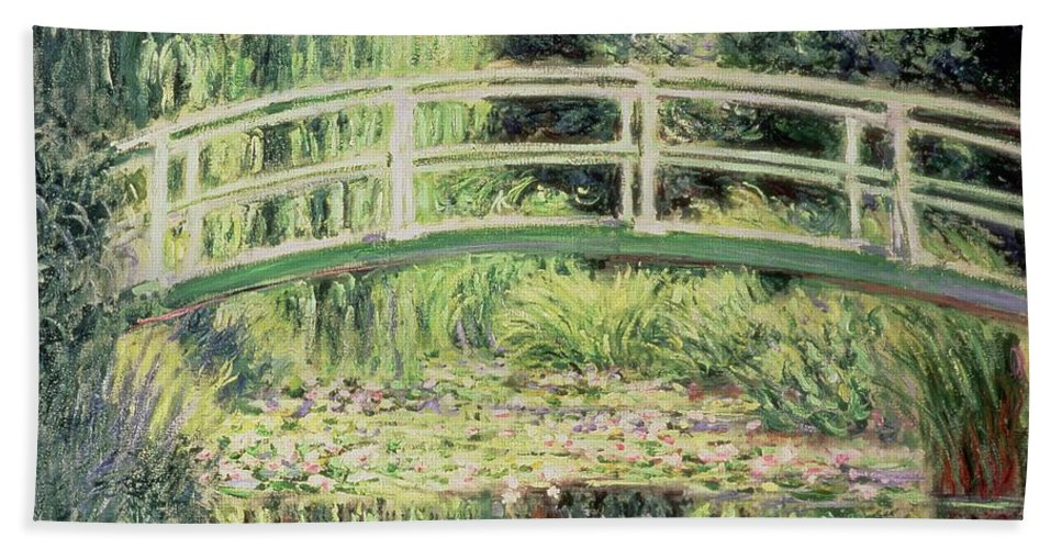 White Nenuphars Bath Sheet featuring the painting White Nenuphars by Claude Monet