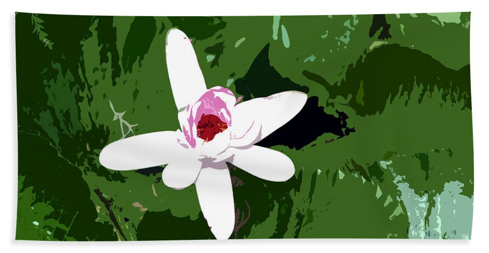Flower Hand Towel featuring the photograph White On Green Work Number 7 by David Lee Thompson