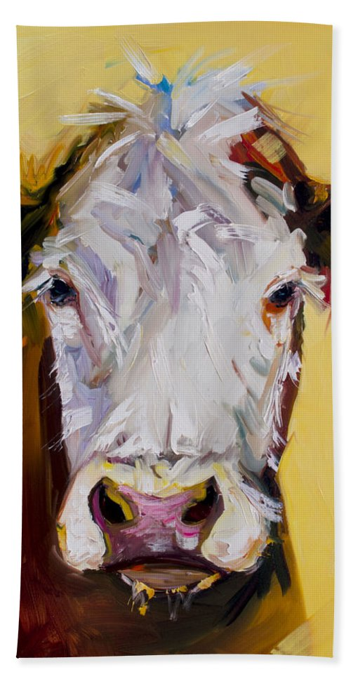 Cow Bath Towel featuring the painting White One by Diane Whitehead