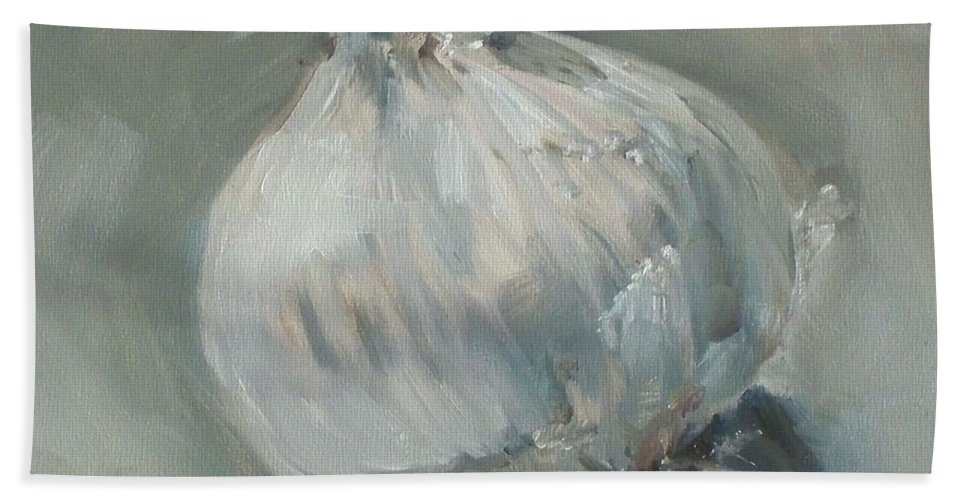 Onion Hand Towel featuring the painting White Onion No. 1 by Kristine Kainer