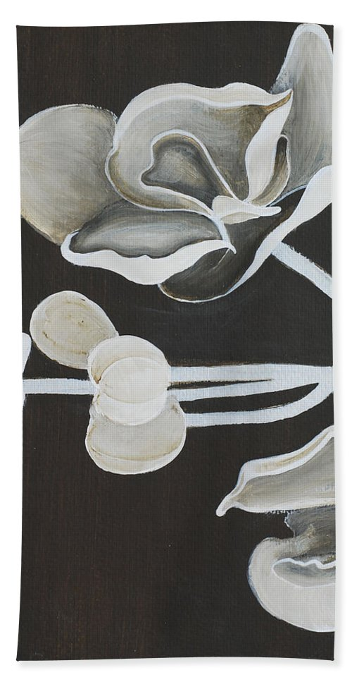 Orchid Hand Towel featuring the painting White Orchid First Section by Catt Kyriacou