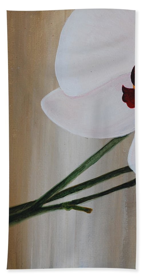 Hand Towel featuring the painting White Orchid Light Background First Section by Catt Kyriacou