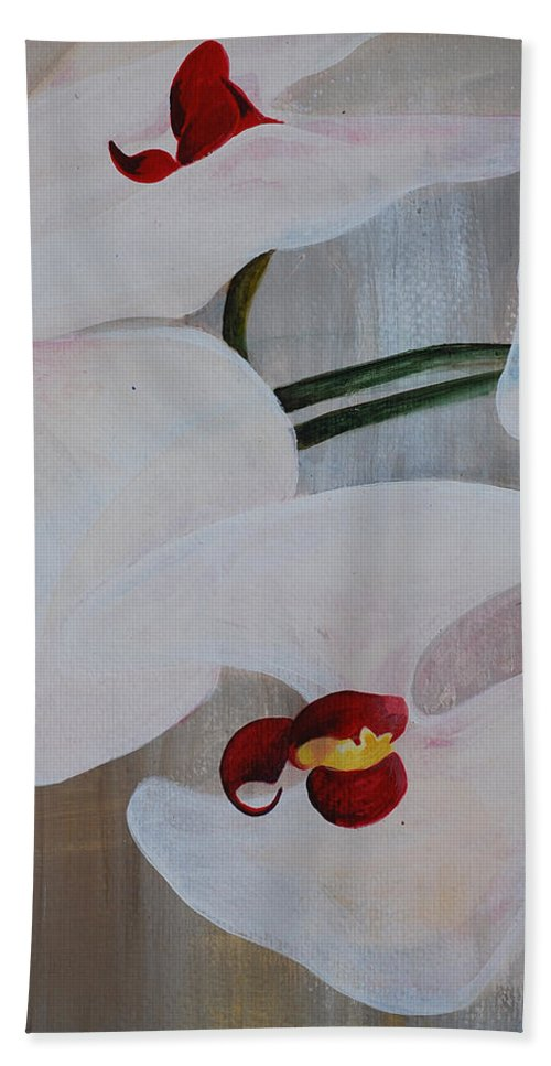 Orchid Hand Towel featuring the painting White Orchid Light Background Middle Section by Catt Kyriacou