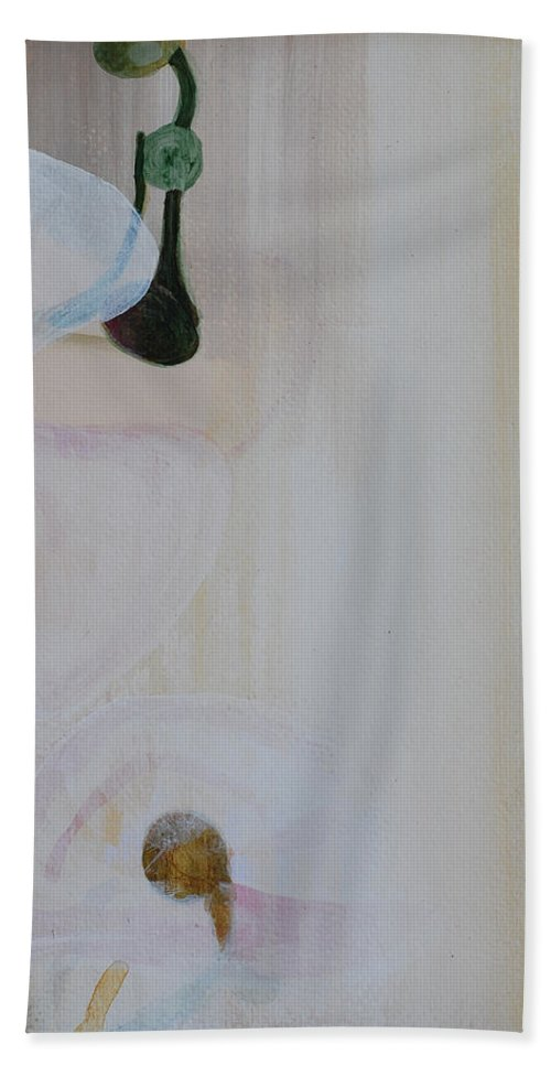 Orchid Bath Sheet featuring the painting White Orchid Light Background Third Section by Catt Kyriacou