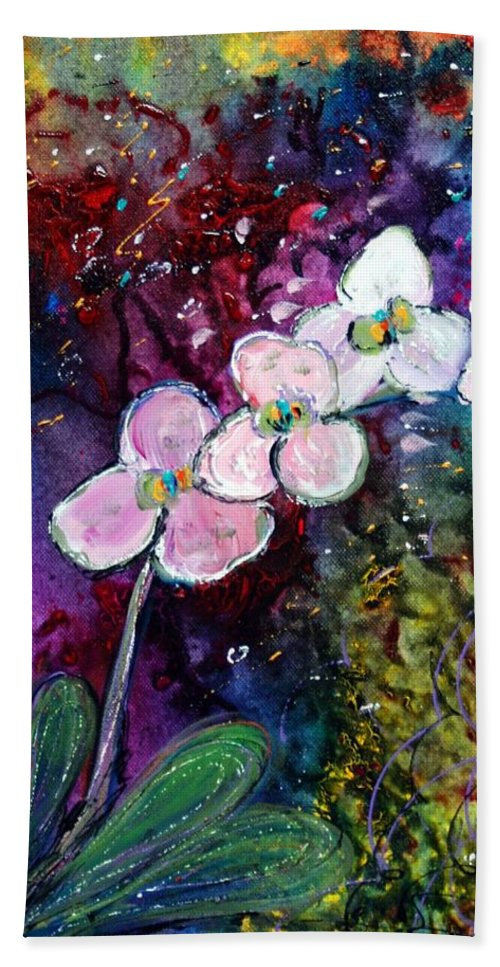 Flowers Bath Sheet featuring the painting White Orchid by Luiza Vizoli