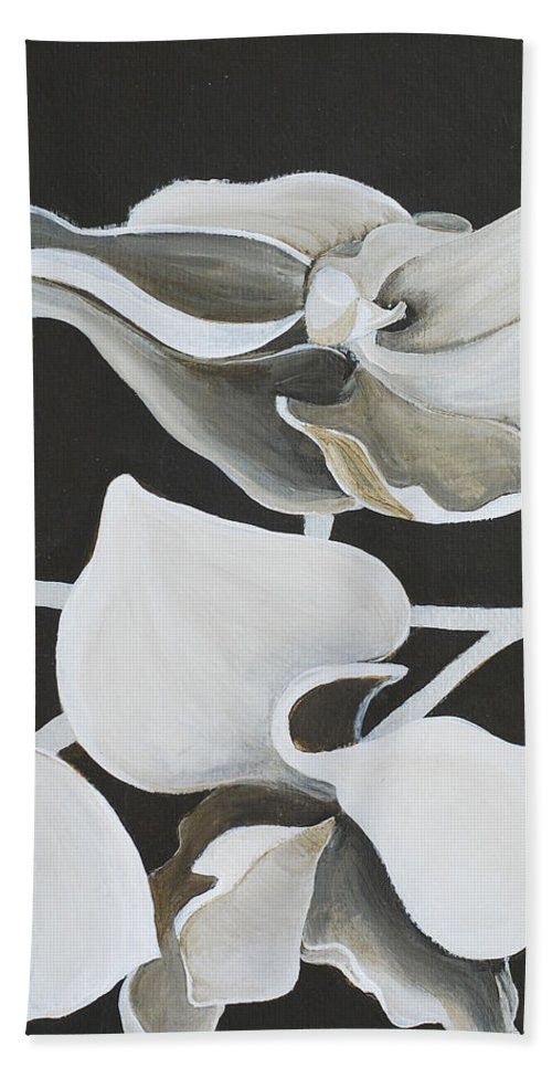 Orchid Bath Sheet featuring the painting White Orchid Middle Section by Catt Kyriacou