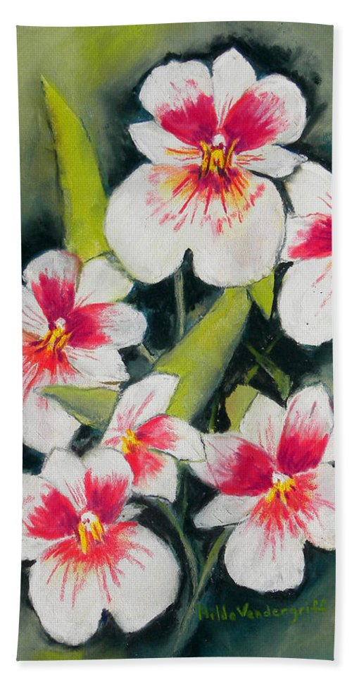 White Orchids Bath Towel featuring the painting White Orchids by Hilda Vandergriff