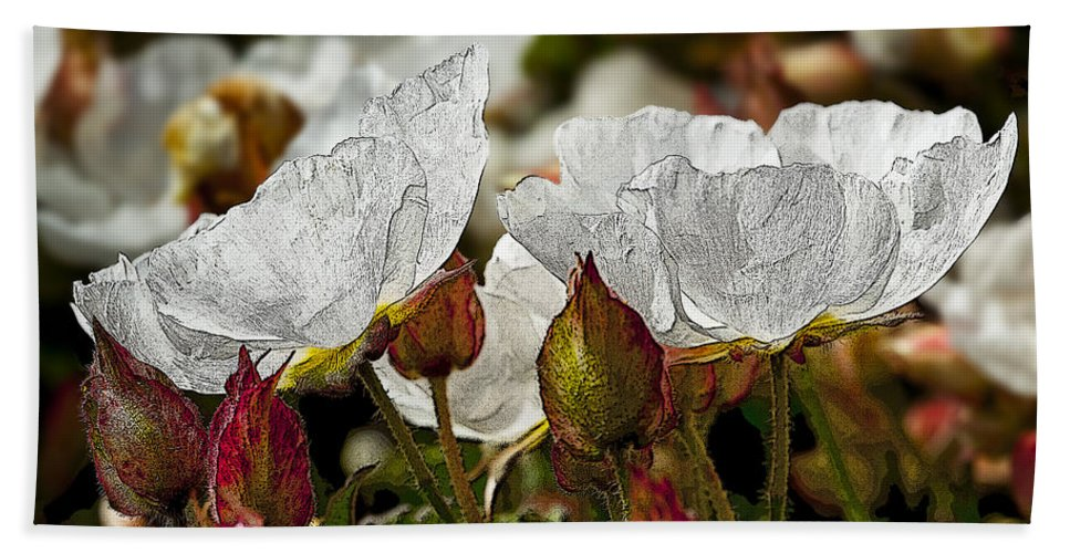 White Flowers Bath Sheet featuring the photograph White Paper Petals by Kelley King
