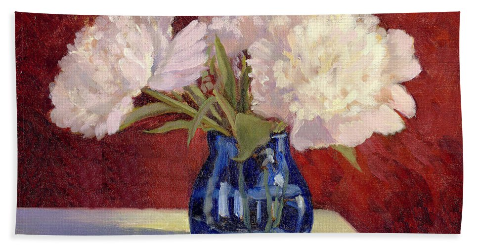 Peonies Hand Towel featuring the painting White Peonies by Keith Burgess