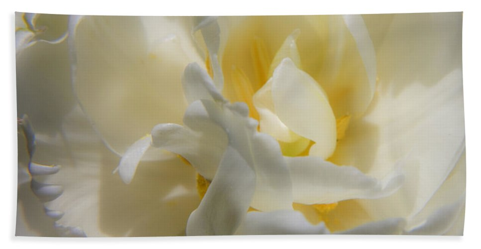 White Bath Towel featuring the photograph White Peony Tulip Detail by Teresa Mucha