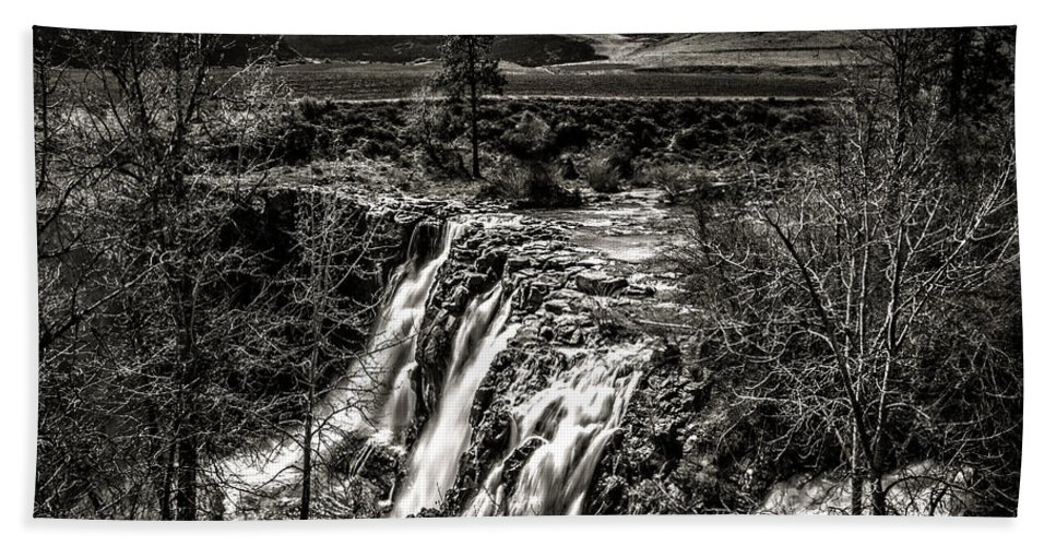White River Falls Black And White Hand Towel featuring the photograph White River Falls Black And White by Wes and Dotty Weber