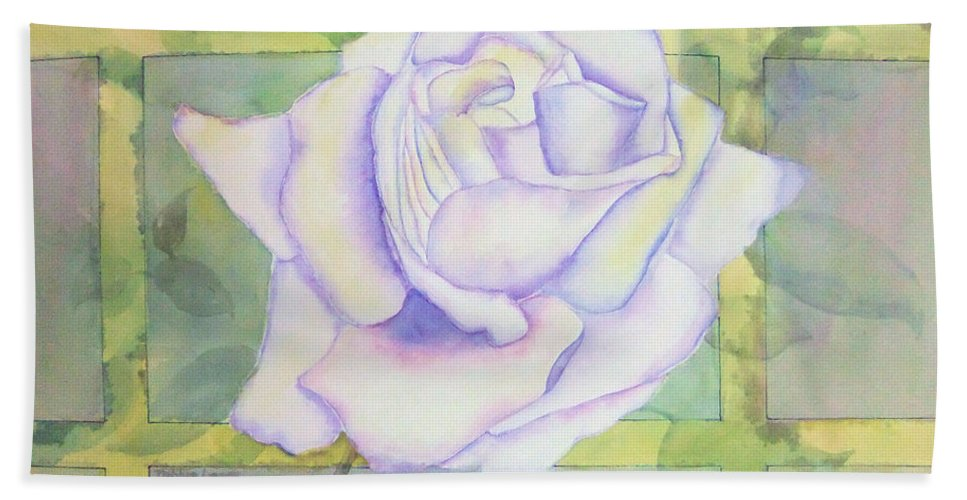 Watercolor Bath Sheet featuring the painting White Rose by Debbie Lewis