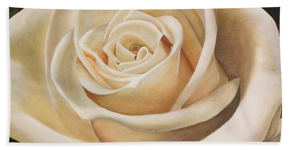 Flower Hand Towel featuring the painting White Rose by Rob De Vries