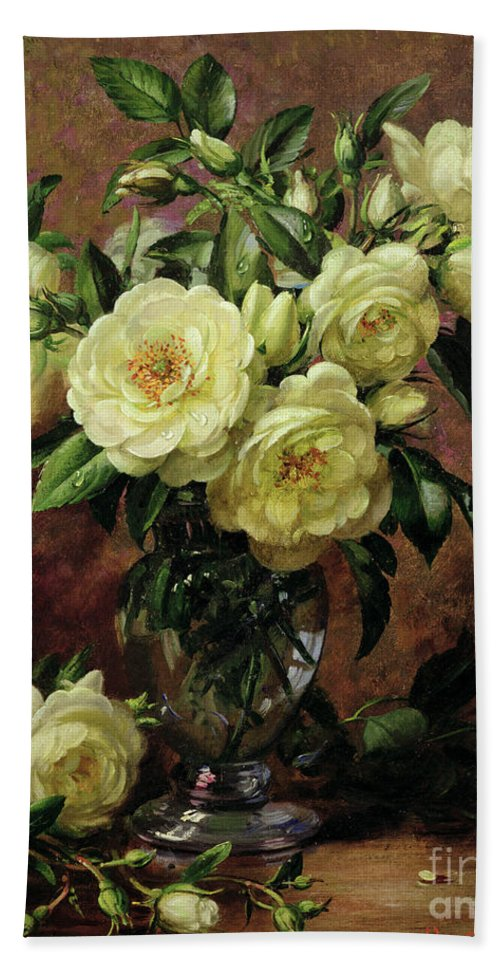 Rose; Still Life; Flower; Arrangement; Vase; Floral; Sentimental; Symbolic; Roses; White Roses; White Roses On The Floor; White Petals On The Floor Hand Towel featuring the painting White Roses - A Gift From The Heart by Albert Williams