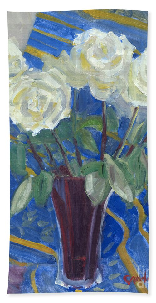 White Roses Hand Towel featuring the painting White Roses With Red And Blue by Candace Lovely