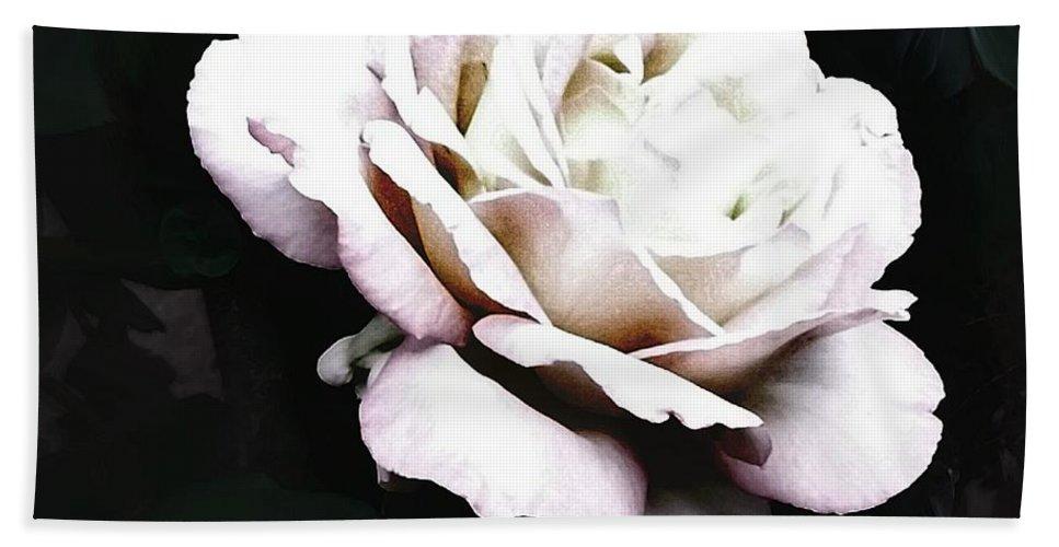 White Rose Bath Sheet featuring the photograph White Rose,stylization by Olga Lyakh