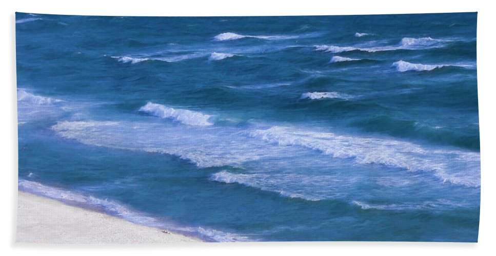 Ocean Hand Towel featuring the photograph White Sand Ocean Waves by Theresa Campbell