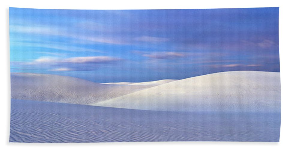 Photography Bath Sheet featuring the photograph White Sands National Monument, Sunset by Panoramic Images