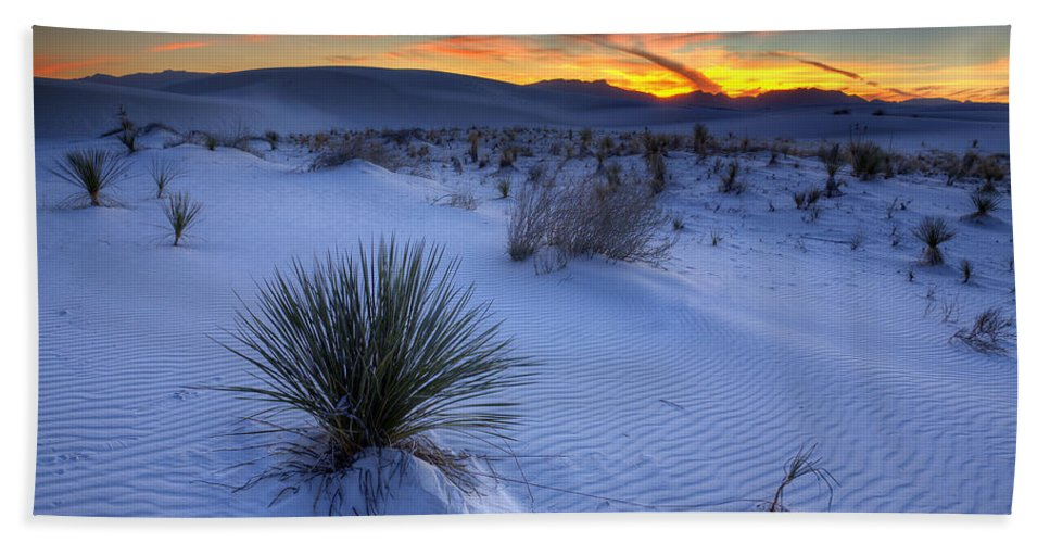 Desert Bath Sheet featuring the photograph White Sands Sunset by Peter Tellone