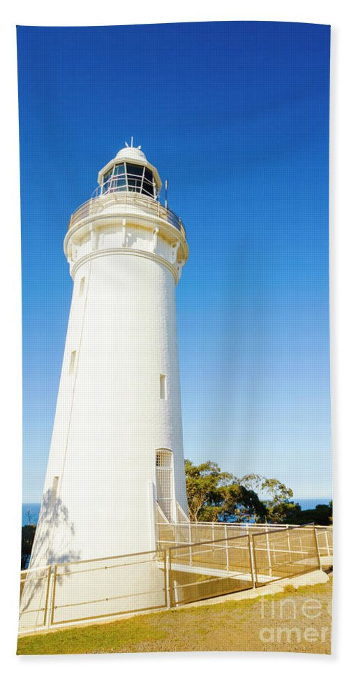 Lighthouse Hand Towel featuring the photograph White Seaside Tower by Jorgo Photography - Wall Art Gallery
