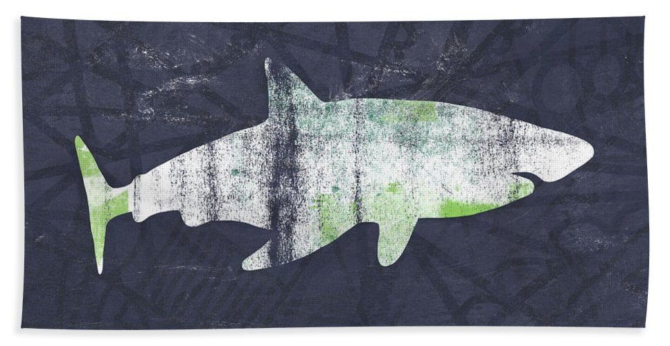 Shark Hand Towel featuring the painting White Shark- Art by Linda Woods by Linda Woods