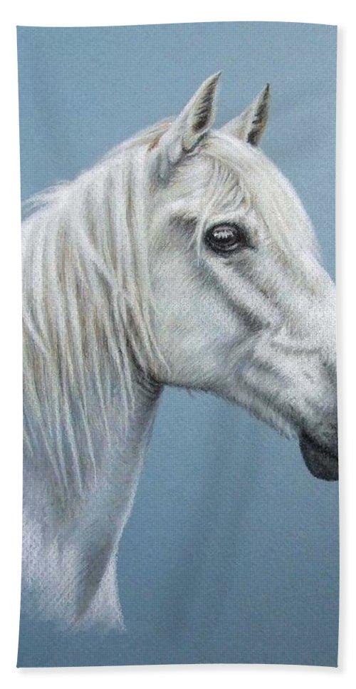Horse Stallion White Pferd Portrait Animal Realism Pastel Hand Towel featuring the pastel White Stallion by Nicole Zeug