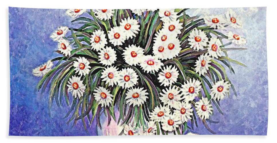 Flower Bath Sheet featuring the painting White Straw Flowers Two by Linda Mears