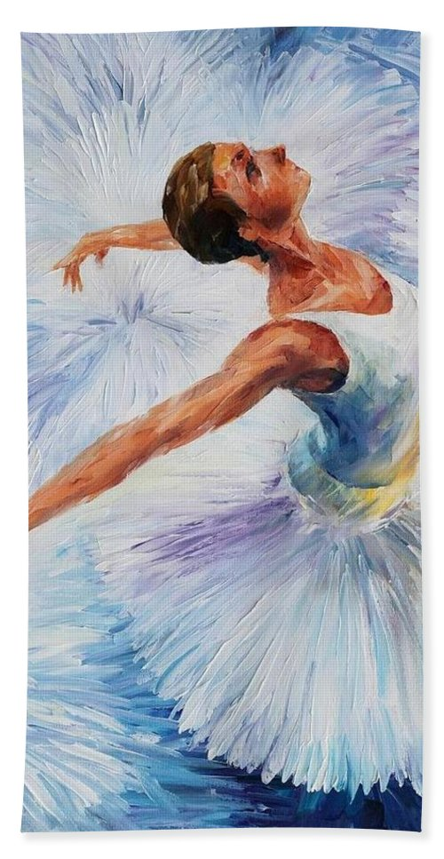 Afremov Hand Towel featuring the painting White Swan by Leonid Afremov