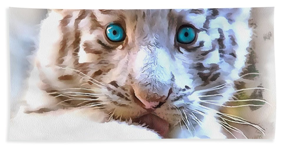 White Tiger Cub Bath Sheet featuring the painting White Tiger Cub by Sergey Lukashin