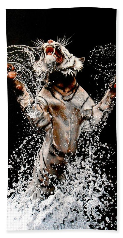 Tiger Hand Towel featuring the painting White Tiger Jumping In Water by Susana Falconi