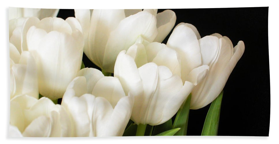 White Bath Sheet featuring the photograph White Tulips 1 by Jessica Velasco