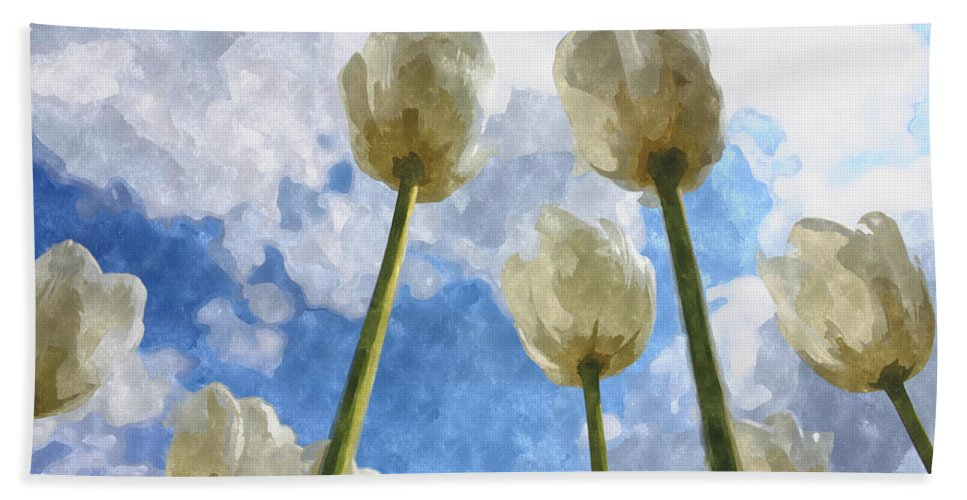 Tulips Hand Towel featuring the digital art White Tulips And Cloudy Sky Digital Watercolor by Nesting Doll Art