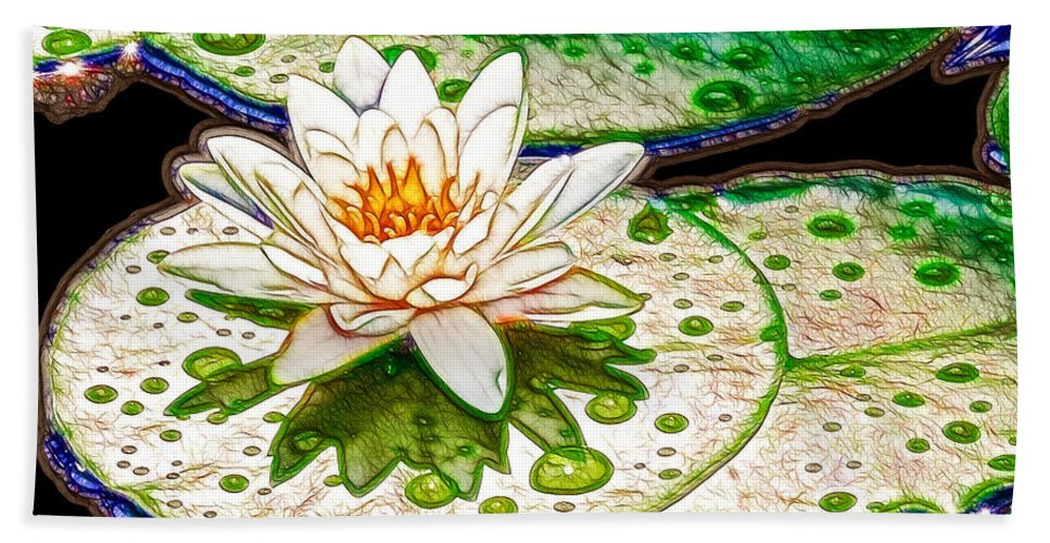 Flower Bath Sheet featuring the painting White Water Lilies Flower by Jeelan Clark