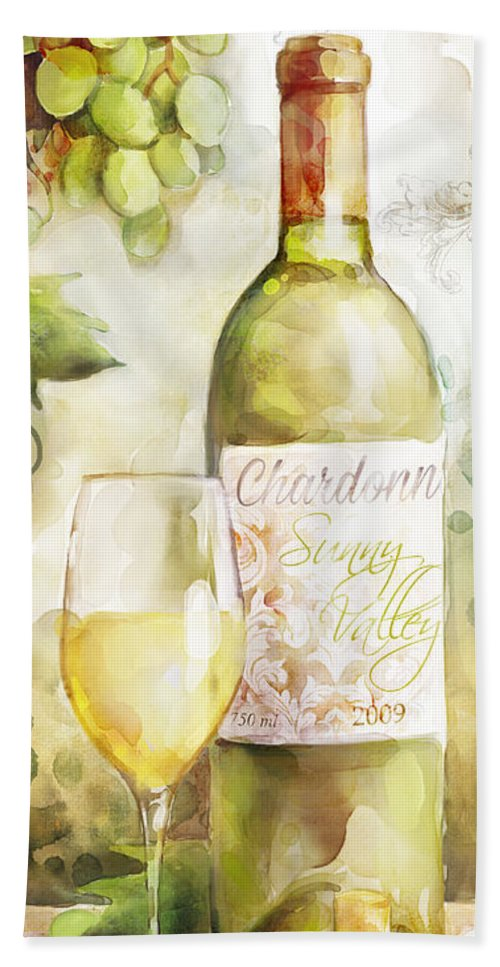 White Wine Hand Towel featuring the painting White Wine Watercolor by Mauro DeVereaux