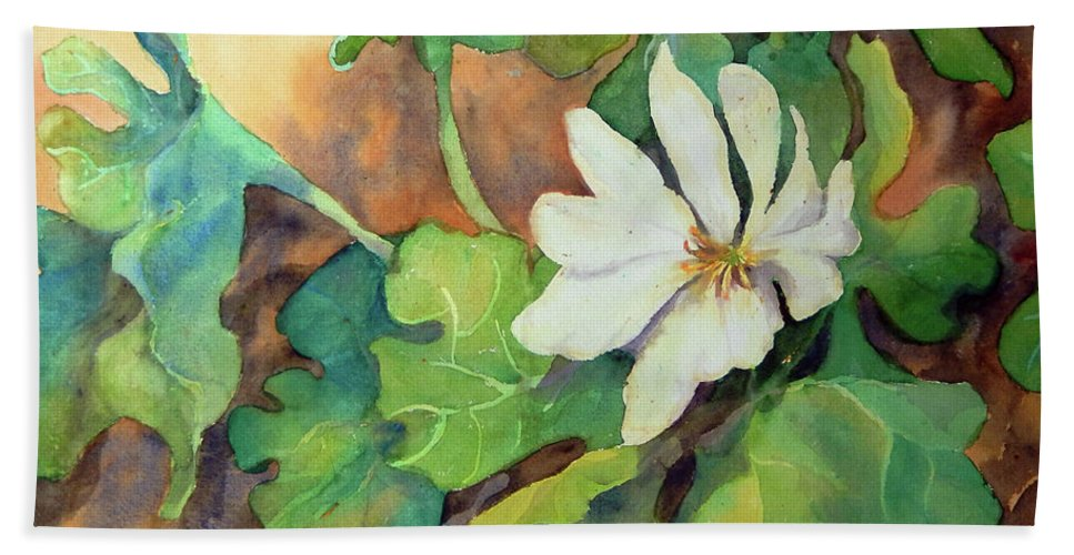 Contemporary Art Bath Sheet featuring the painting White Woodland Flower by Sharon Nelson-Bianco