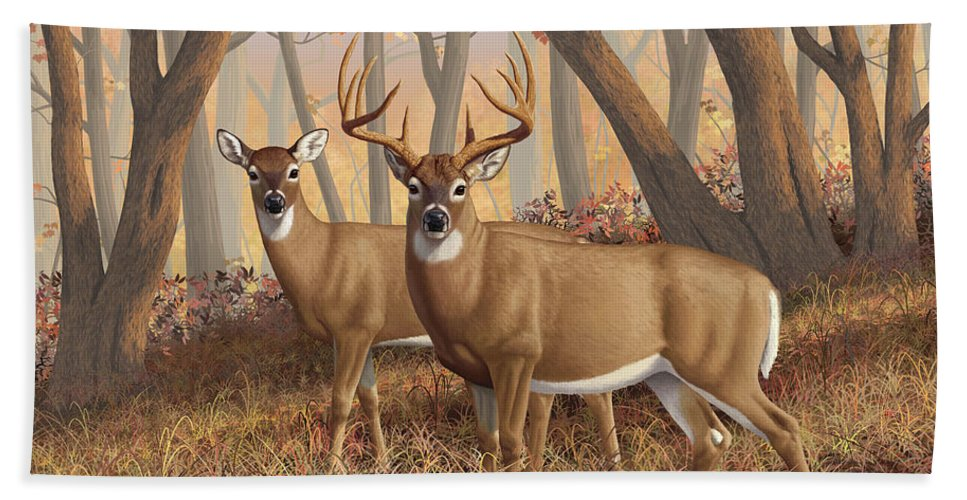 Deers Hand Towel featuring the painting Whitetail Deer Painting - Fall Flame by Crista Forest