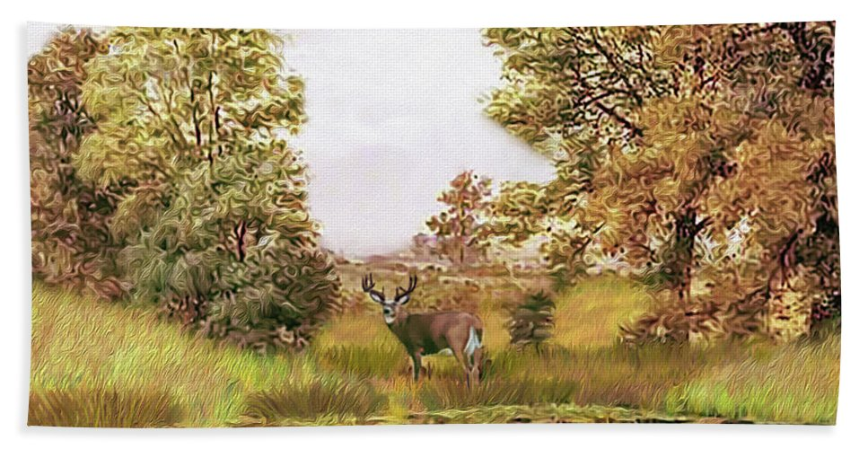 Whitetail Deer Hand Towel featuring the digital art Whitetail Deer by Walter Colvin