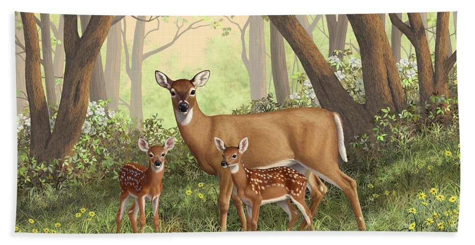 Whitetail Deer Bath Towel featuring the painting Whitetail Doe And Fawns - Mom's Little Spring Blossoms by Crista Forest