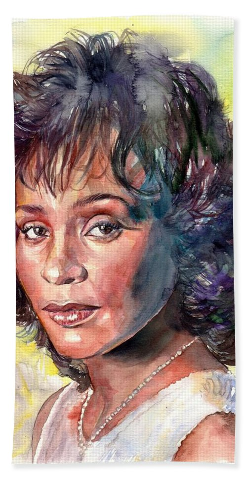 Whitney Bath Towel featuring the painting Whitney Houston Portrait by Suzann Sines