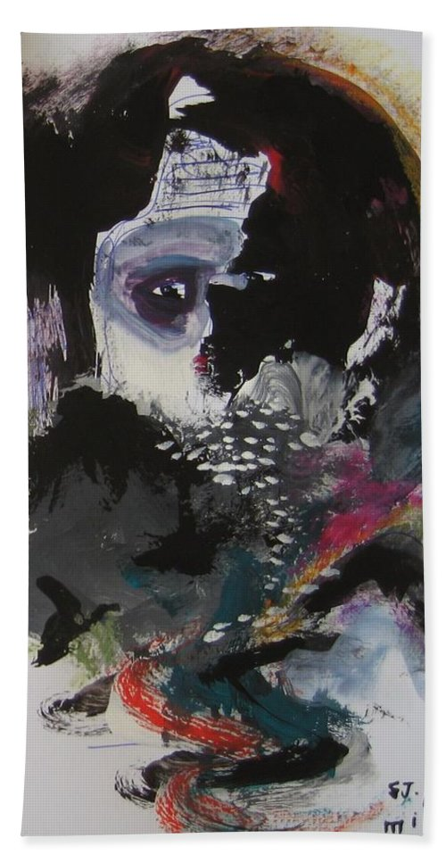 Original Abstract Hand Towel featuring the painting Who Is Watching Me4 by Seon-Jeong Kim