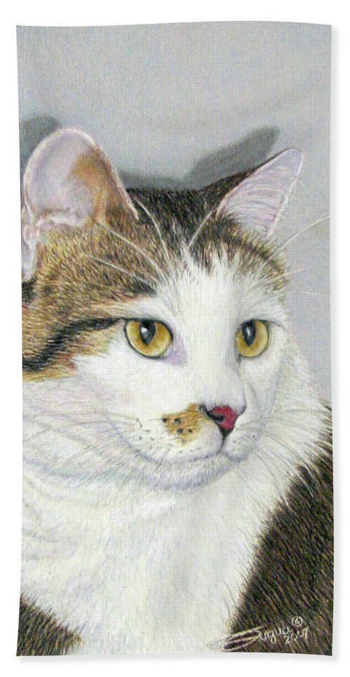 Pet Portraits Bath Sheet featuring the drawing Who Me by Beverly Fuqua
