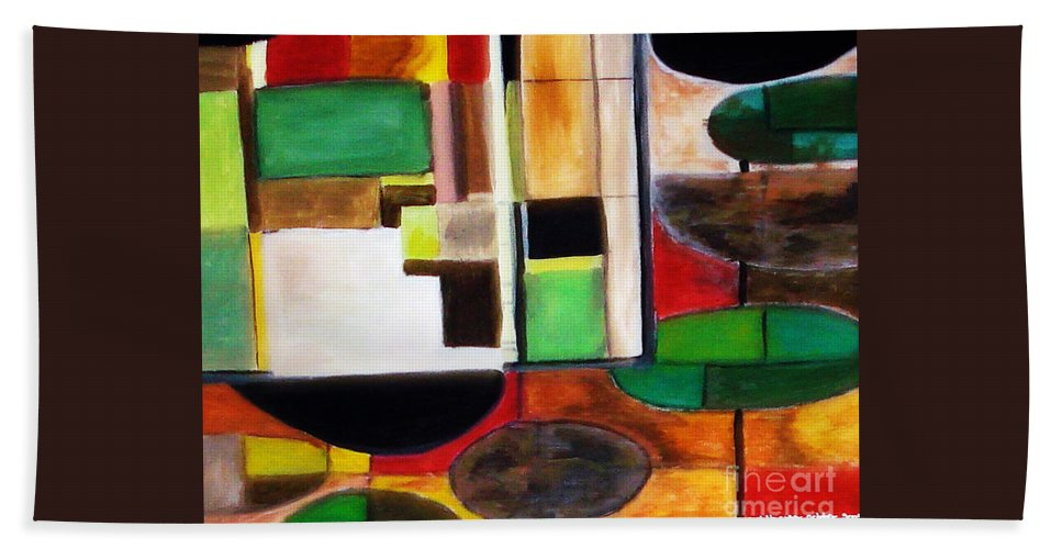 Acrylic Painting Hand Towel featuring the painting Wholeness by Yael VanGruber