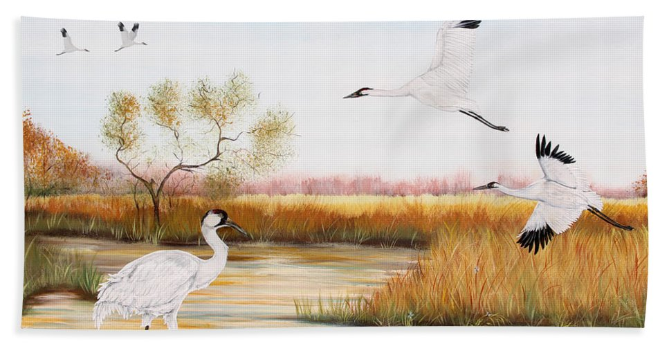 Jean Plout Bath Sheet featuring the painting Whooping Cranes-jp3151 by Jean Plout