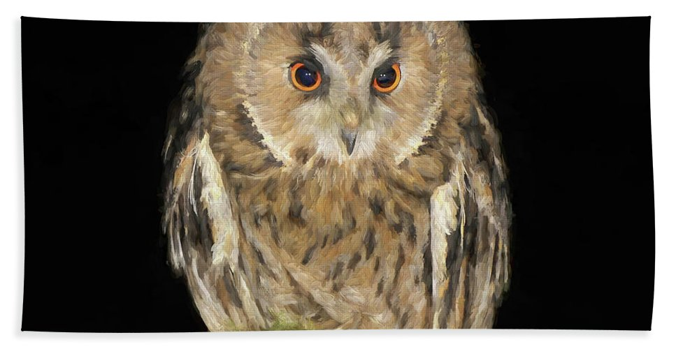 Owl Bath Sheet featuring the digital art Who's There by Ronald Bolokofsky