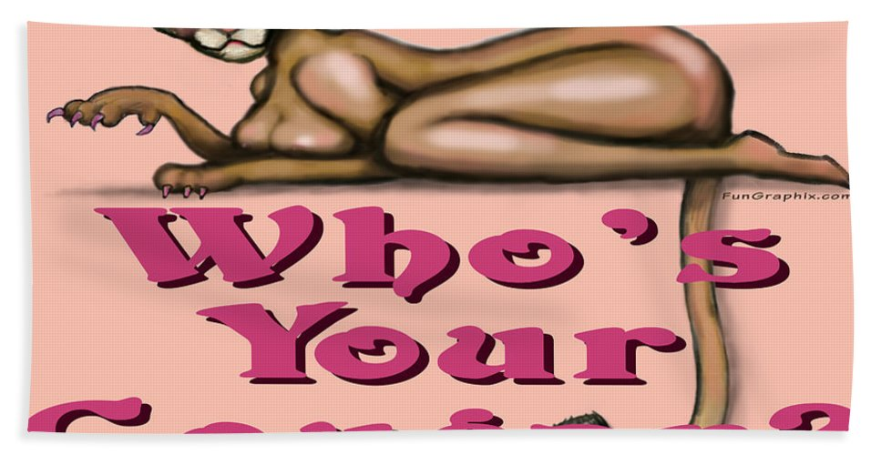Cougar Bath Sheet featuring the greeting card Whos Your Cougar by Kevin Middleton