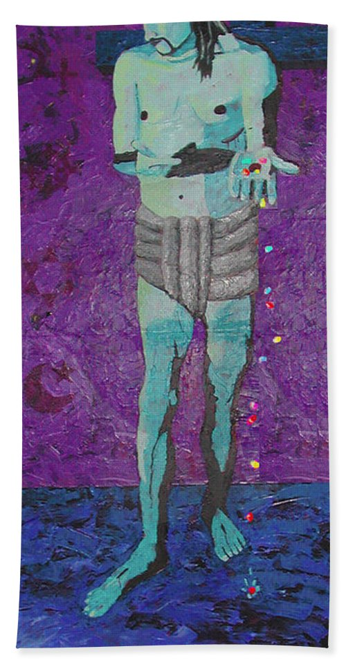 Jesus Bath Towel featuring the painting Why Jesus Don't Eat Smarties by Keith Baxter